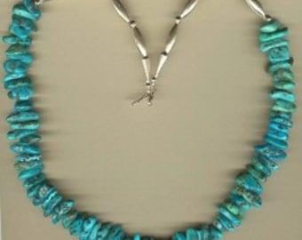 25 Inch Large Turquoise Nugget and Sterling Silver Necklace