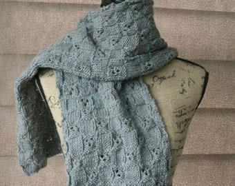 Gray Knit Scarf / Gingham Hand Knit Wrap / Grey Unisex Scarf