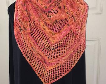 Merino Wool Lace Shawl / Hand Knit Orange with Black Hand Knit Shawl / Triangle Knit Shawl