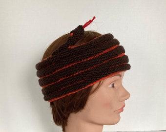 Brown Snake Headband / Brown with Orange Trim Knit Hat / Snake Cowl / Snake Wrap