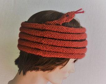 Rust and Brown Snake Headband / Rust Snake Hat / Snake Cowl / Snake Wrap