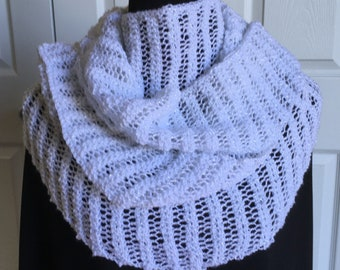 White Sparkly Lace Scarf / Hand Knit Long White Scarf / Wedding Lace Shawl