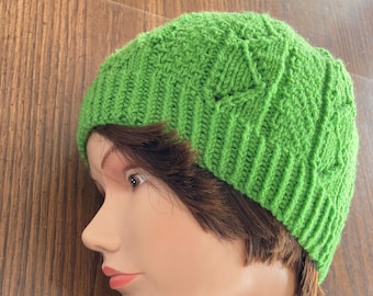 Spring Green Lacy Hat / Hand Knit Lace Hat / Knit Textured Green Hat