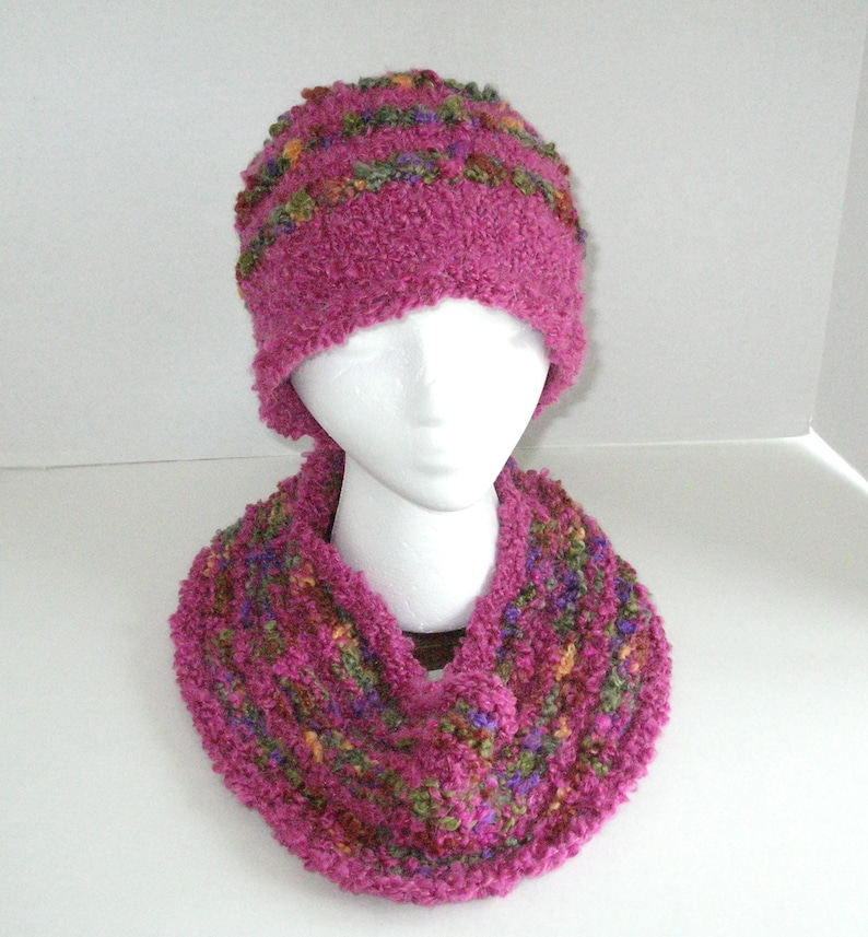 Set of Pink and Green Cowl and Hat / Pink Boucle Bobble Hat image 0