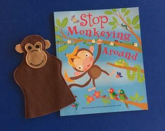 Monkey Hand Puppet and Book Set / Felt Monkey Puppet and Book