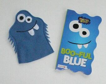 Blue Monster Puppet and Book Set / Felt Monster Hand Puppet / Monster Party Favors