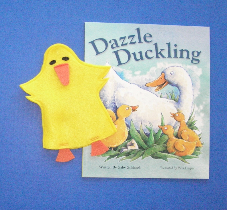 Duck Hand Puppet and Book Set / Duckling Felt Puppet and Book image 0