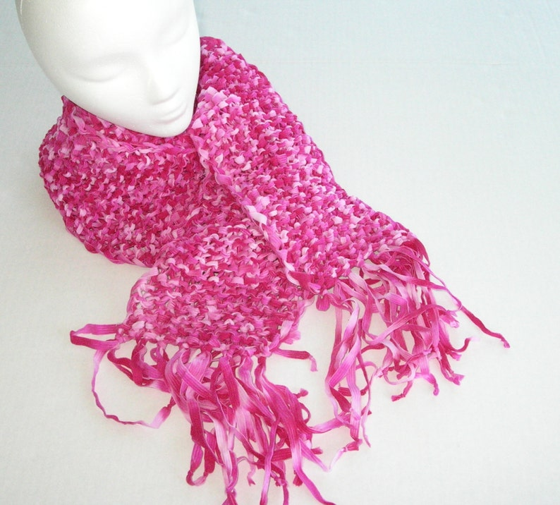 Pink Knit Scarf with Fringe / Bright Pink Knit Scarf image 0