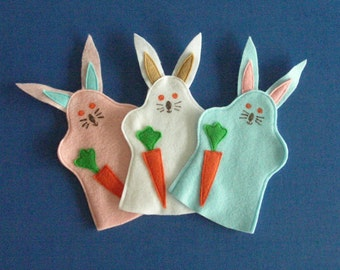 Bunny Rabbit Puppets / Set of Three / Party Favors / Easter Basket Fillers