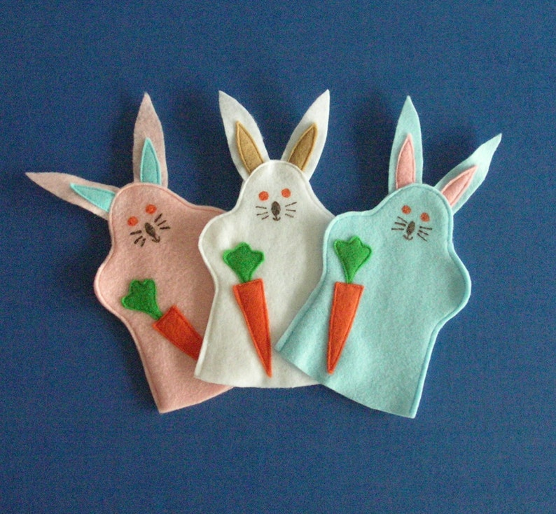 Bunny Rabbit Puppets / Set of Three / Party Favors / Easter image 0