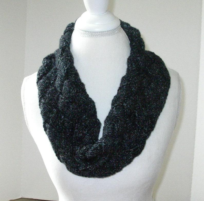 Black and Grey Tweed Hand Knit Scarf / Black Infinity Scarf / image 0