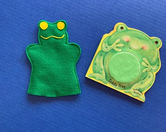 Frog Puppet and Board Book Set / Felt Frog Hand Puppet / Party Favor