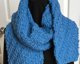Sky Blue Scarf / Squishy Thick and Reversible Hand Knit Chunky Scarf / Blue Bulky Knit Scarf
