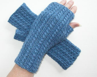 Denim Blue Cashmerino Wool Silk Fingerless Gloves / Cable Knit Gloves
