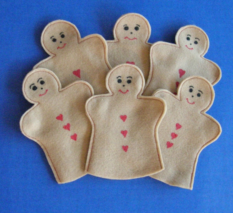 Gingerbread Party Favor Puppets / Set of 6 image 0