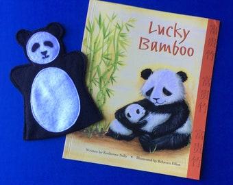 Panda Puppet and Storybook / Felt Panda Hand Puppet / Panda Party Favor