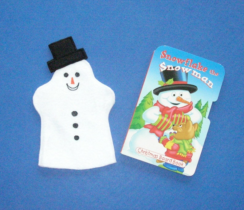 Snowman Hand Puppet and Book Set / Felt puppet and book image 0