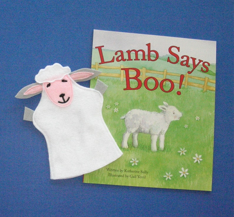 Lamb Hand Puppet and Book Set / Sheep Felt Puppet and Book image 0
