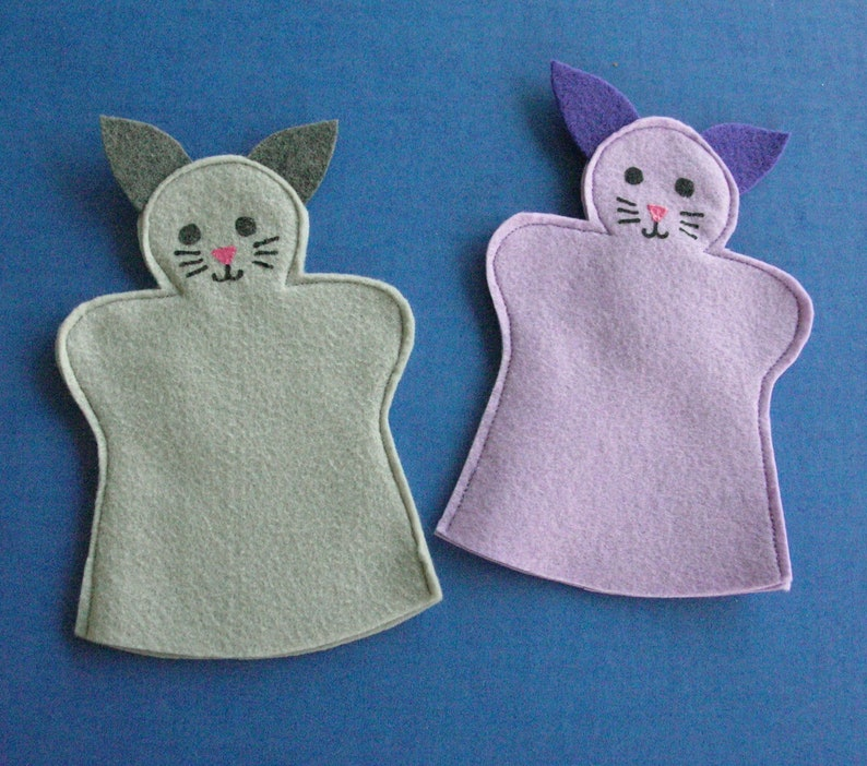 Cat Felt Hand Puppet / Purple Cat / Grey Cat image 0