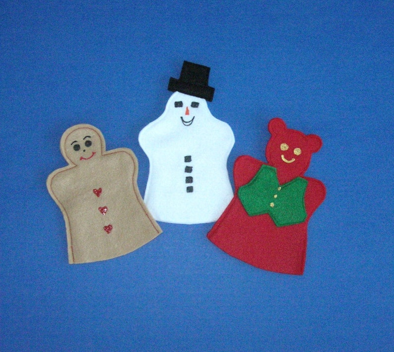 Holiday Felt Puppet Set / Gingerbread Man / Snowman / image 0