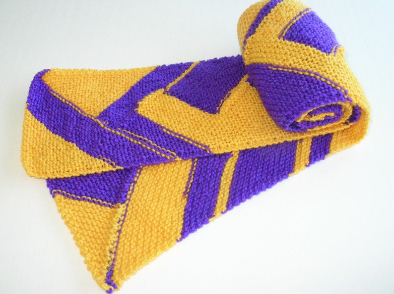 Purple and Gold Sports Team Spirit Scarf / Hand Knit Scarf image 0