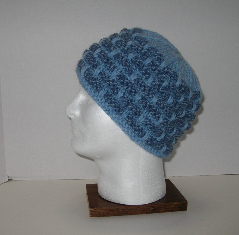 Denim Blues Knit Wool Hat / Bulky Knit Blue Hat image 0
