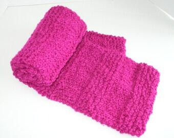 Pink Knit Scarf / Bright Pink Bulky Knit Scarf / Magenta Pink Chunky Knit Scarf
