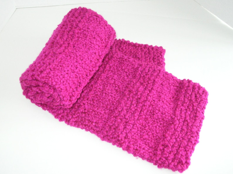 Pink Knit Scarf / Bright Pink Bulky Knit Scarf / Magenta Pink image 0