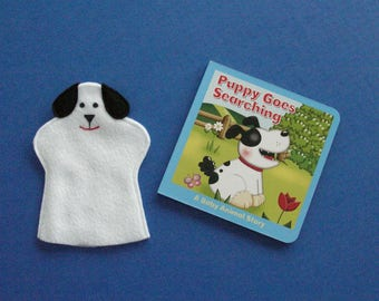 Dog Puppet and Book / Felt Dog Hand Puppet / Dog Party Favor