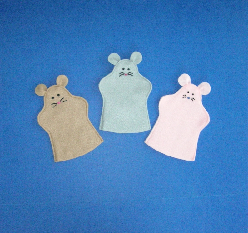 Felt Mice Puppets / Set of Three / Puppet Party Favors / Three image 0
