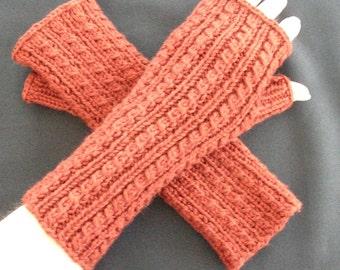 Pumpkin Cashmerino Blend Cabled Fingerless Gloves