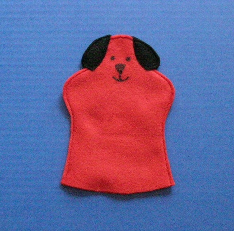 Red Dog Hand Puppet / Big Red Dog Felt Puppet / Party Favor image 0