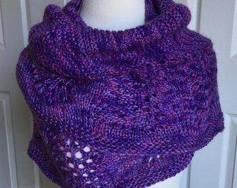 Large Lace Crescent Shawl / Hand Knit Purple Shawl / Purple Knit Lace Shawl