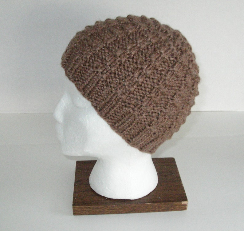 Brown Silk and Wool Knit Hat / Brown Hand Knit Beanie image 0