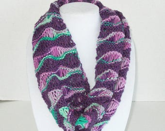 Wavy Lace Scarf / Purple and Turquoise Cotton Cowl / Lacy Circle Scarf