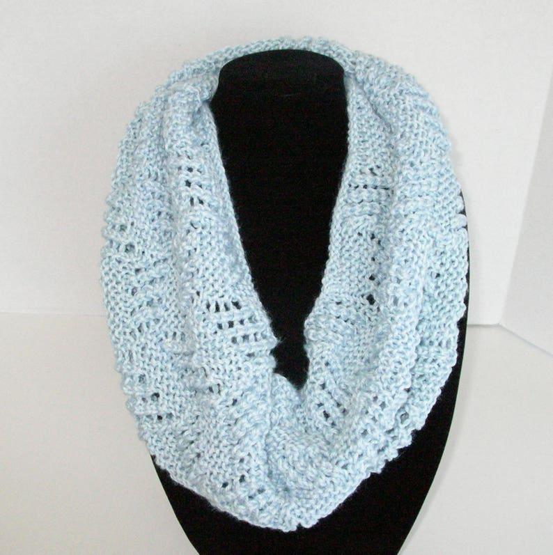 Light Blue Lace Cowl / Blue Knit Circle Scarf image 0