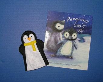 Penguin Puppet and Book Set / Felt Hand Puppet / Penguin Party Favor