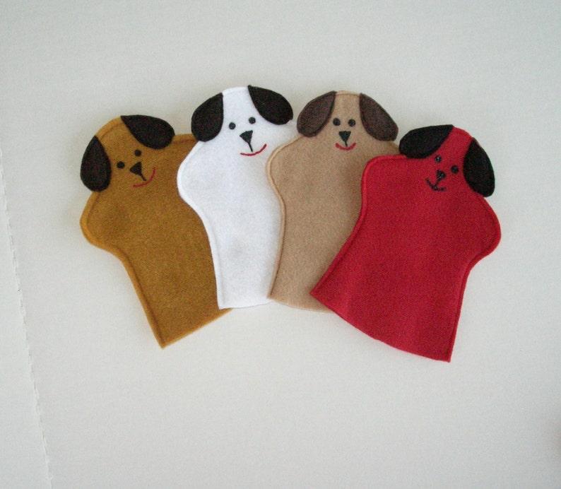 Dog Hand Puppet / Party Favor for Kids / Dog Felt Puppet image 0