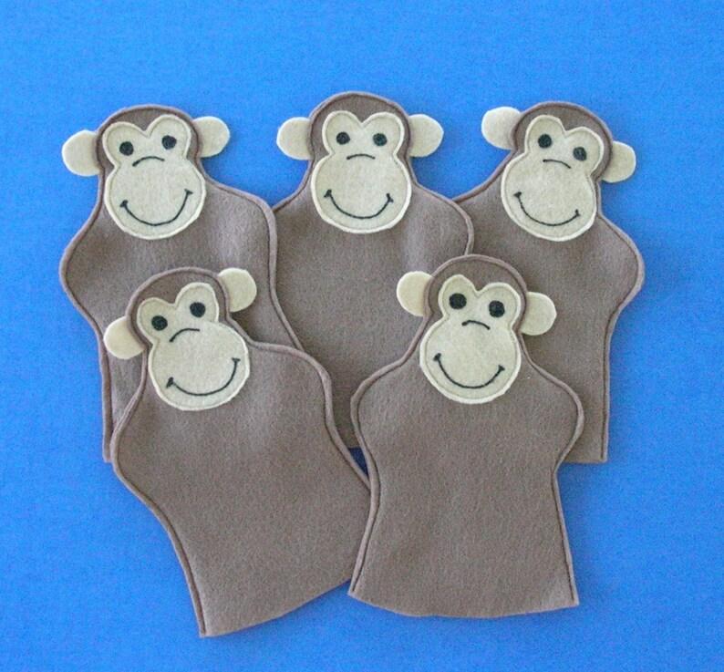 Five Felt Monkey Puppets / Five Little Monkeys / Monkey Party image 0