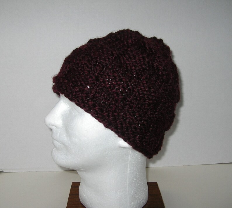 Dark Brown Chunky Knit Hat / Bulky Brown Beanie / Wool and image 0