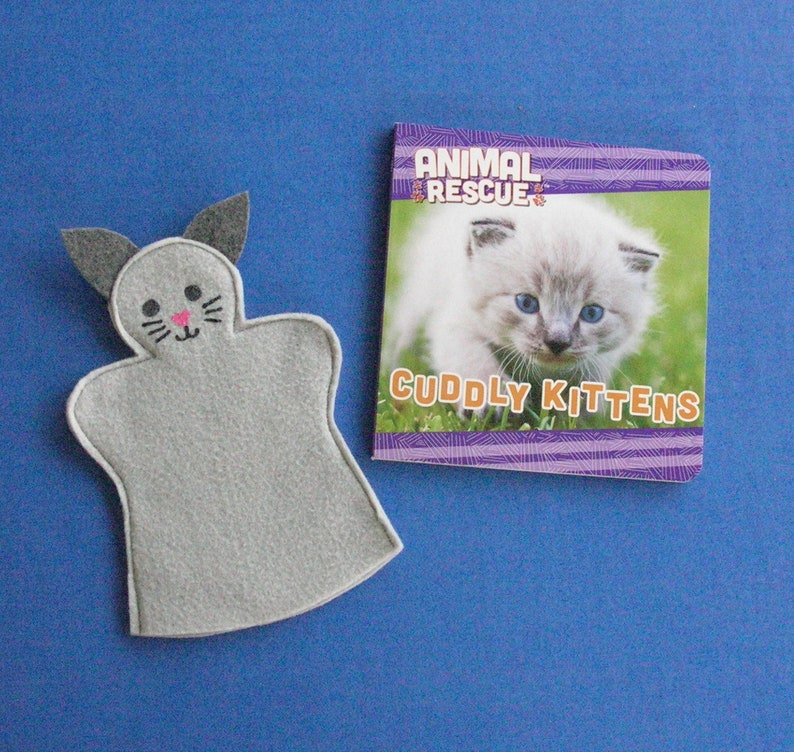 Cat Puppet and Book Set / Kitten Felt Hand Puppet / Puppet and image 0