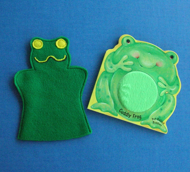 Frog Puppet and Book Set / Felt Frog Hand Puppet / Party Favor image 0