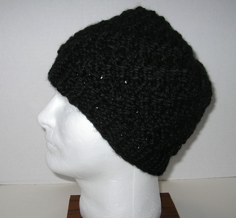 Black Knit Beanie Hat / Acrylic and Wool Blend / Thick and image 0