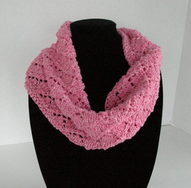 Pink Diamond Lace Circle Scarf / Pink Knit Cowl image 0