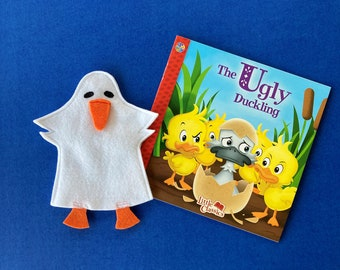 Ugly Duckling Puppet and Soft Cover Book / Duck Hand Puppet / Party Favor / Children's Gift