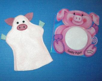 Pig Hand Puppet Book Set / Piglet Felt Puppet / Pig Puppet with Board Book