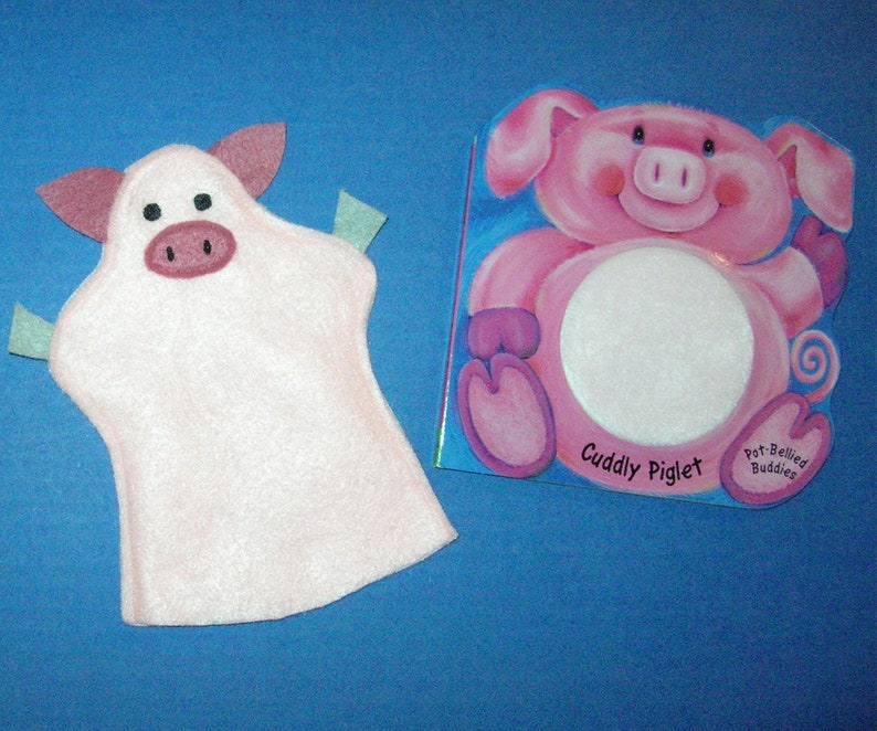 Pig Hand Puppet Book Set / Piglet Felt Puppet / Choice of image 0