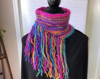 Fringed Cowl / Rainbow Knit Scarf / OOAK Colorful Neck Warmer with Fringe / Striped Boho Bandana Cowl
