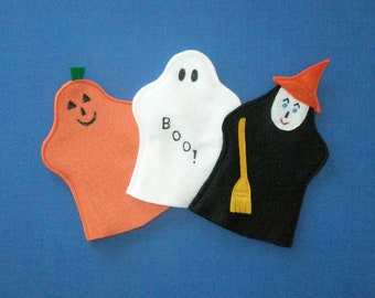 Halloween Puppet Set / Felt Ghost Witch Pumpkin Puppets / Party Favors / Hand Puppets