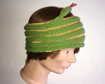 Green Snake Headband / Green with Yellow Snake Hat / Snake Cowl / Snake Neck Wrap